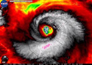 Here, Hurricane Irma makes landfall on Cuba as a Category 5 storm on Sept. 8.