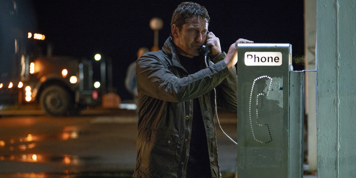 Mike Banning Gerard Butler on the phone in Angel Has Fallen