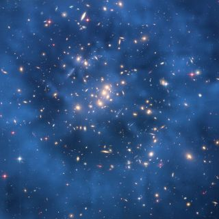 A galaxy cluster that may hide dark matter in its core.