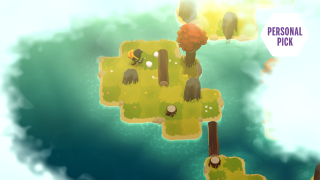 A monster pushes a log in puzzle game A Monster's Expedition.