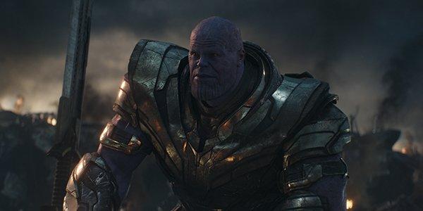 Thanos awaiting Thor, Captain America and Iron Man