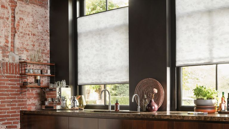 Kitchen blinds in industrial style kitchen