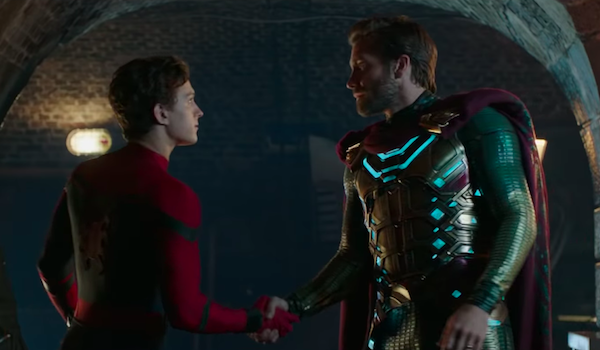 Tom Holland as Spider-Man and Jake Gyllenhaal as Mysterio in Far From Home