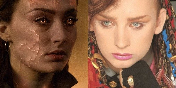 Sophie Turner in Dark Phoenix and Boy George on Culture Club album Colour by Numbers