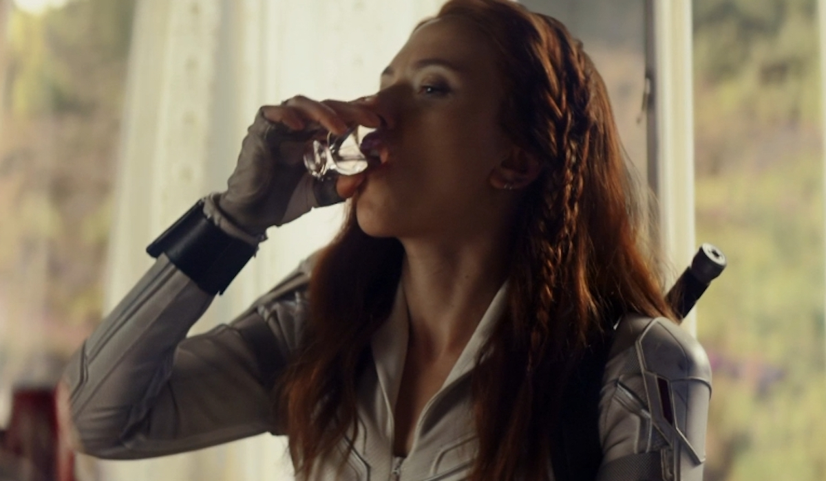 Scarlett Johannson as Black Widow, staying hydrated
