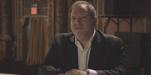 Harvey Weinstein interviewed in a theater