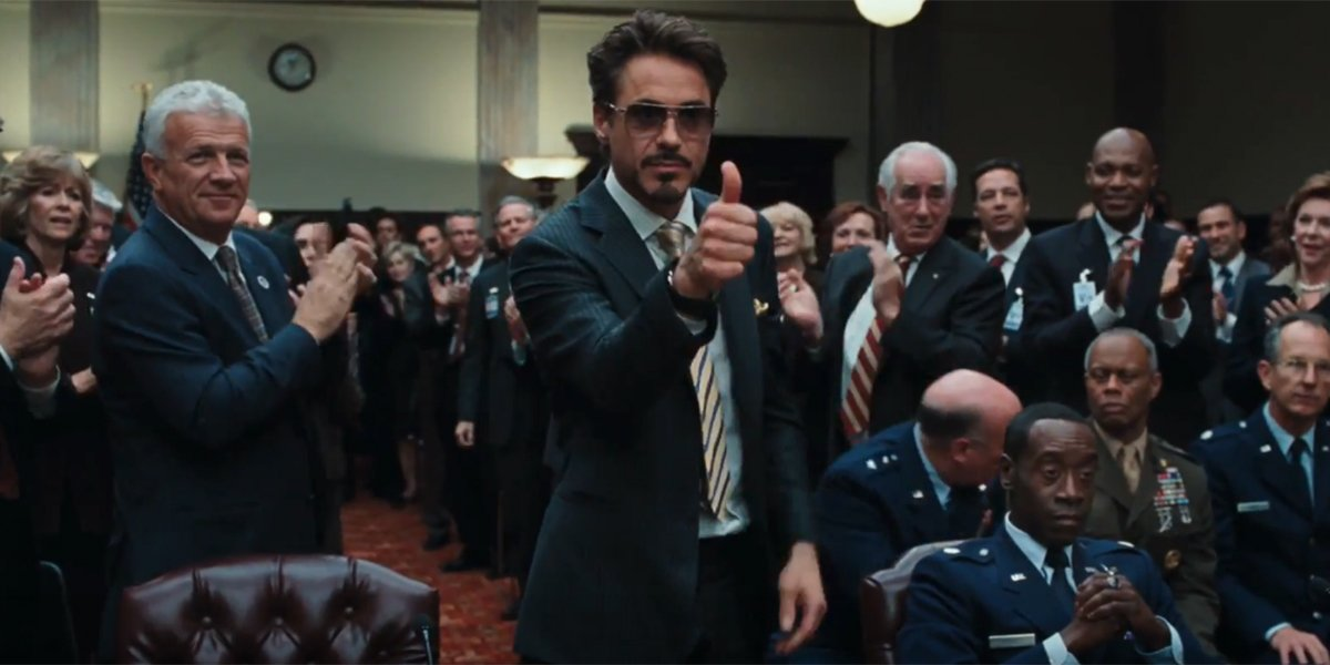 Tony Stark at his congressional hearing in Iron Man 2
