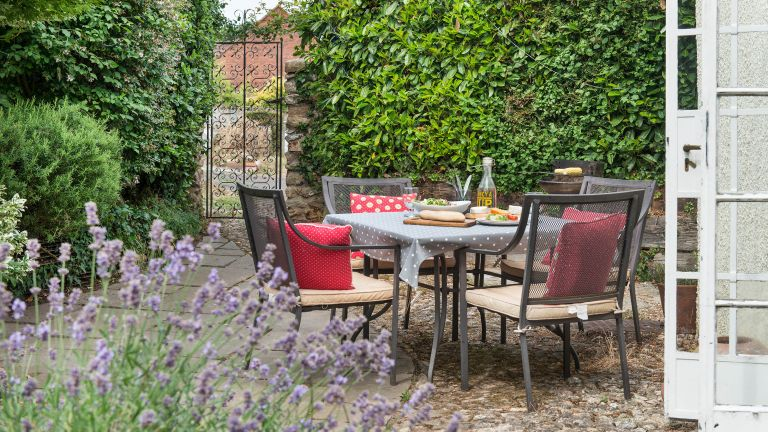 budget patio ideas with seating and lavender