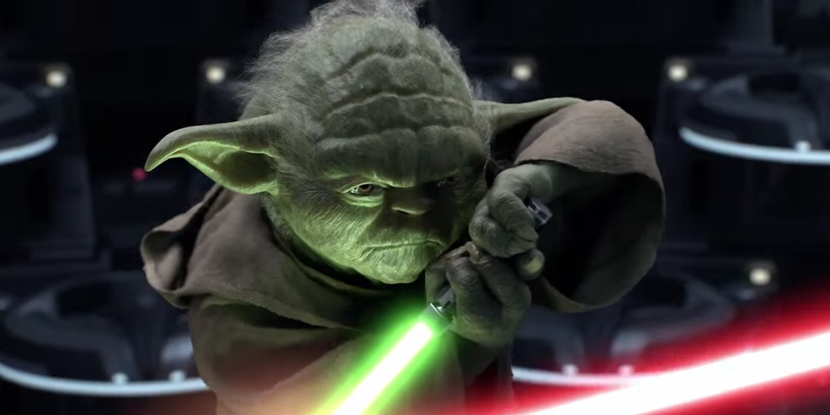Yoda fighting Palpatine