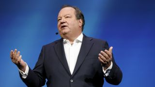 ViacomCBS's Bob Bakish speaks during the Mobile World Congress Americas event in Los Angeles, California on Oct. 22, 2019.