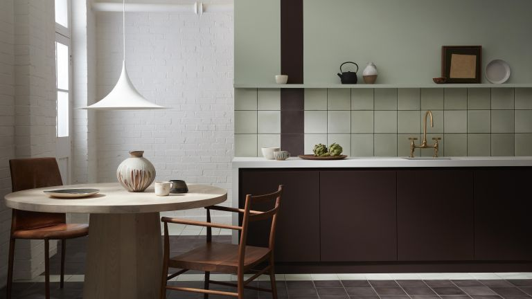 Bert & May X Little Greene in a white and green tiled kitchen