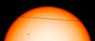 A snapshot of the 2003 Mercury transit, seen by the Solar and Heliospheric Observatory.