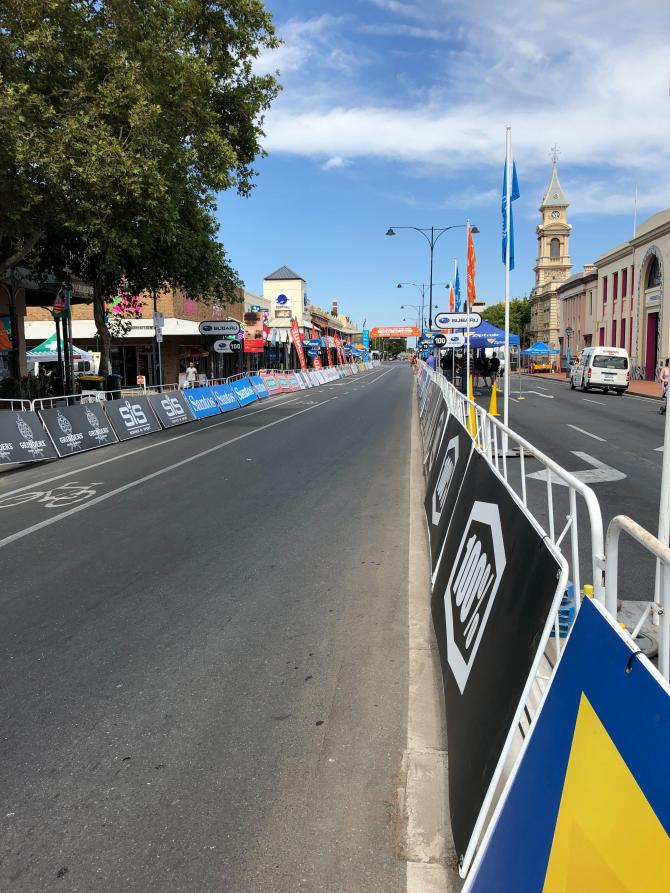 Finishing straight of stage 1 at the Tour Down Under
