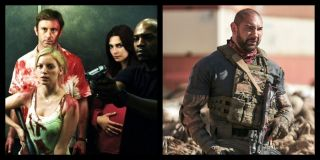 A picture of Dave Bautista from _Army of the Dead_ and the cast of _Dawn of the Dead._