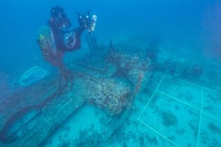 Underwater archaeologists visit the wreck of the Tulsamerican off the coast of Croatia.