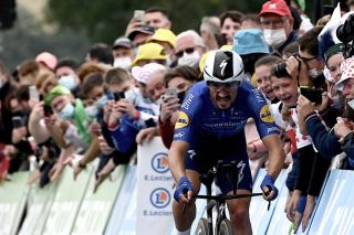 Julian Alaphilippe (Deceuninck-QuickStep) in the stage 5 time trial at the Tour de France