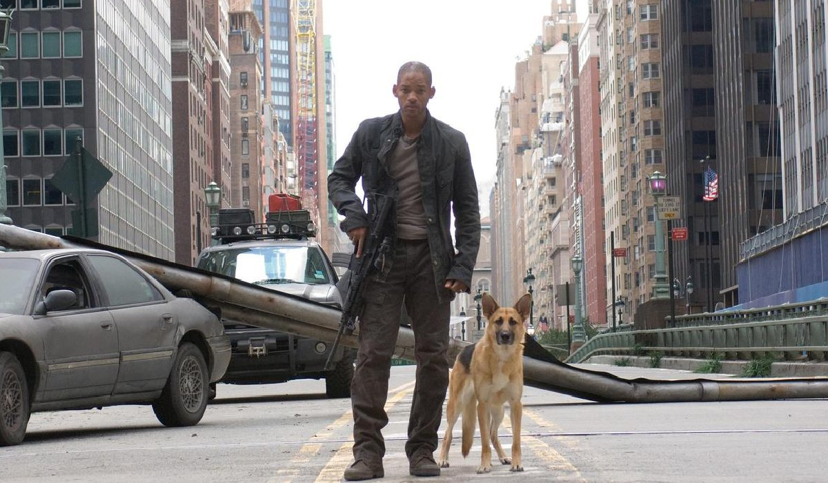 I Am Legend Will Smith patrols the street with his German Shepherd