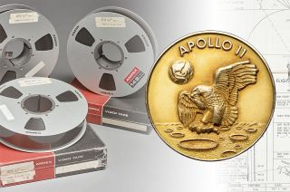 A set of original Apollo 11 moonwalk videotapes, a gold medallion that flew with the Apollo 11 commander to the moon and a timeline book used by Neil Armstrong and Buzz Aldrin to land at Tranquility Base were offered for millions of dollars by Sotheby's, Heritage Auctions and Christie's, respectively, on the 50th anniversary of the Apollo 11 mission.