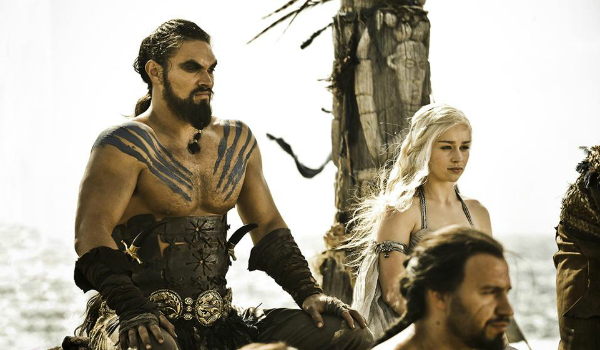 Game of Thrones Daenerys Targaryen Emilia Clarke Khal Drogo Jason Momoa HBO