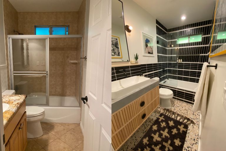Before and after shot of interior designer's black tile and terrazzo bathroom remodel
