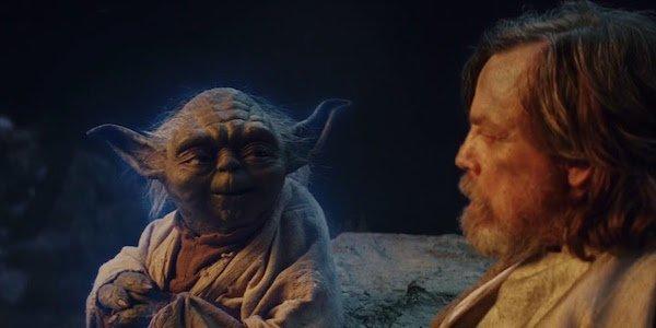 Yoda with Luke in The Last Jedi