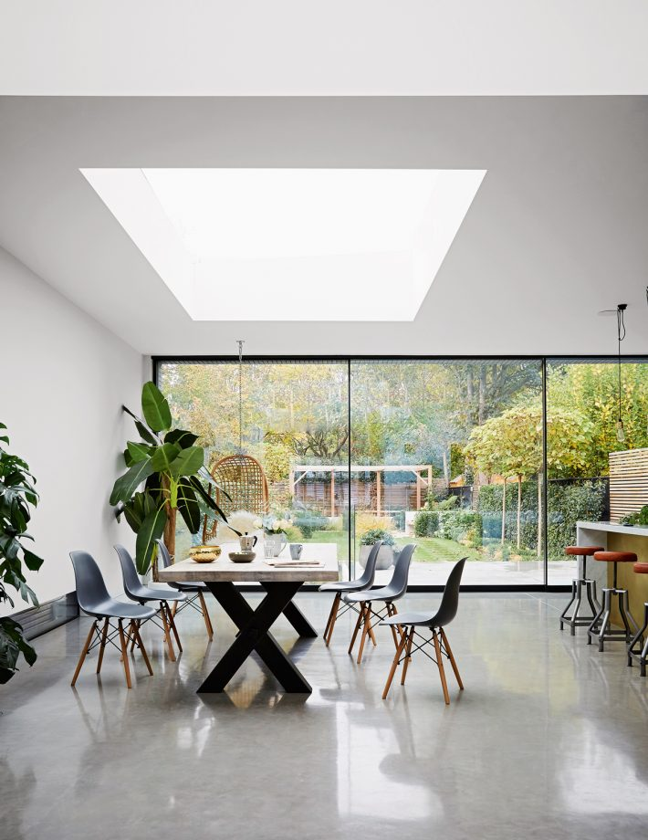 The Eames DSW Chairs Are By Vitra. The Rattan Hanging Chair Is From  Scandinavian Design Centre. The Polished Concrete Floor Is By Lazenby.