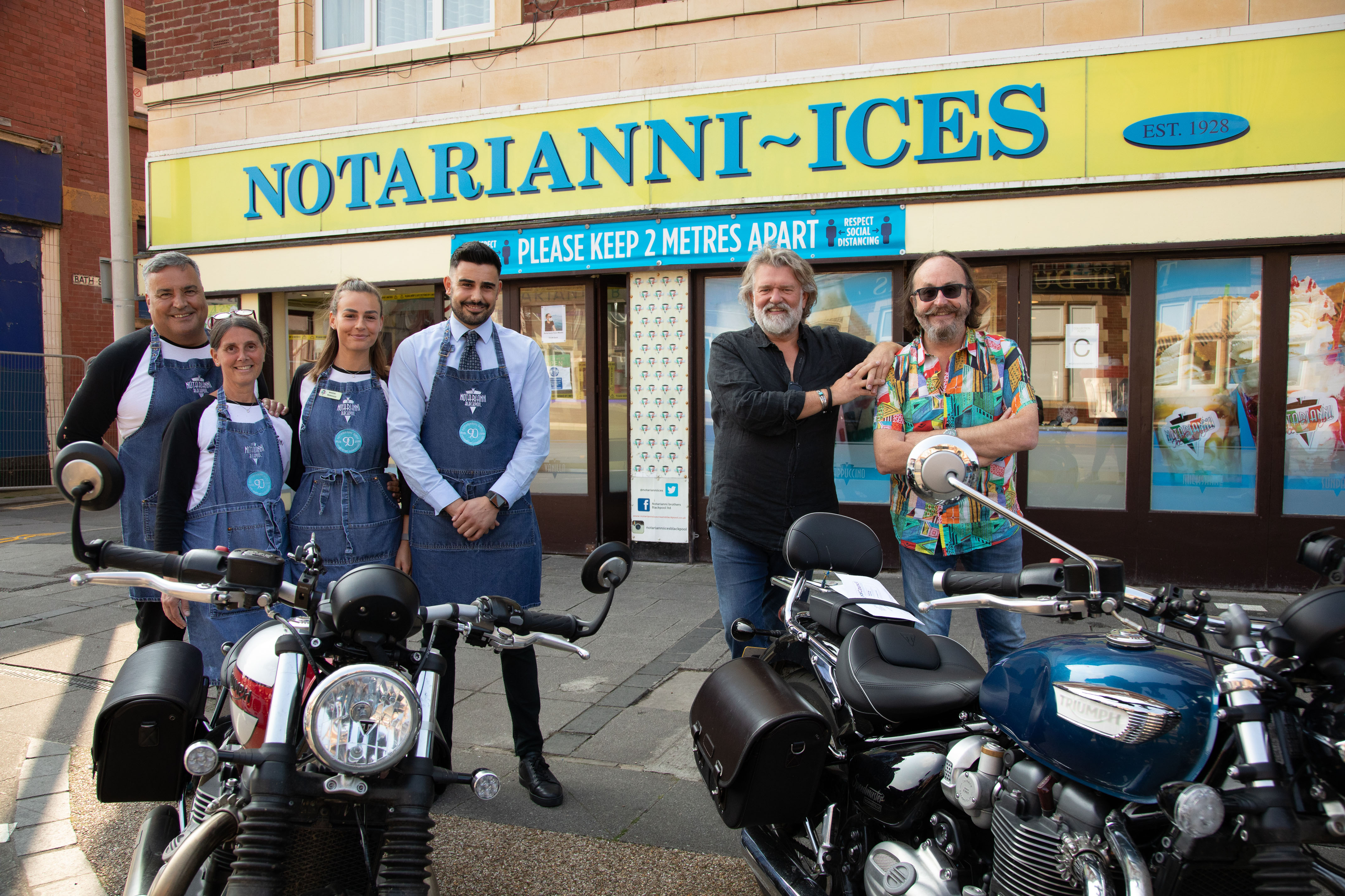 The Hairy Bikers visiting Notarianni Ices in Blackpool.