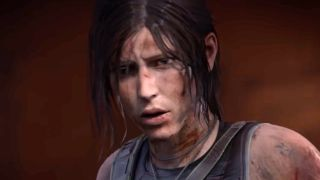 Lara looks dismayed in the CGI trailer for Shadow of the Tomb Raider