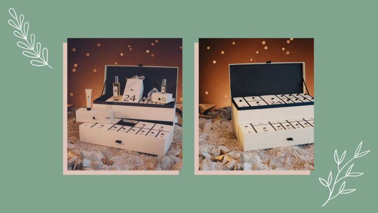 Two photos of the Jo Malone advent calendar. One of them closed, the other open. They are overlaid on a green background with a floral motif and drop shadows