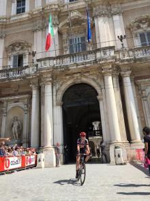 Chad Haga emerges into Modena's Piazza Grande