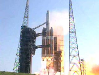 A ULA Delta 4 Heavy Rocket launches a spy satellite July 29