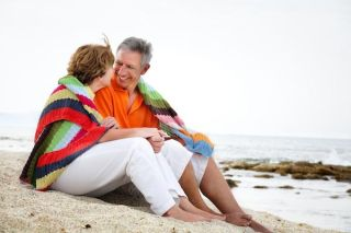 beach, romantic couple, older adults