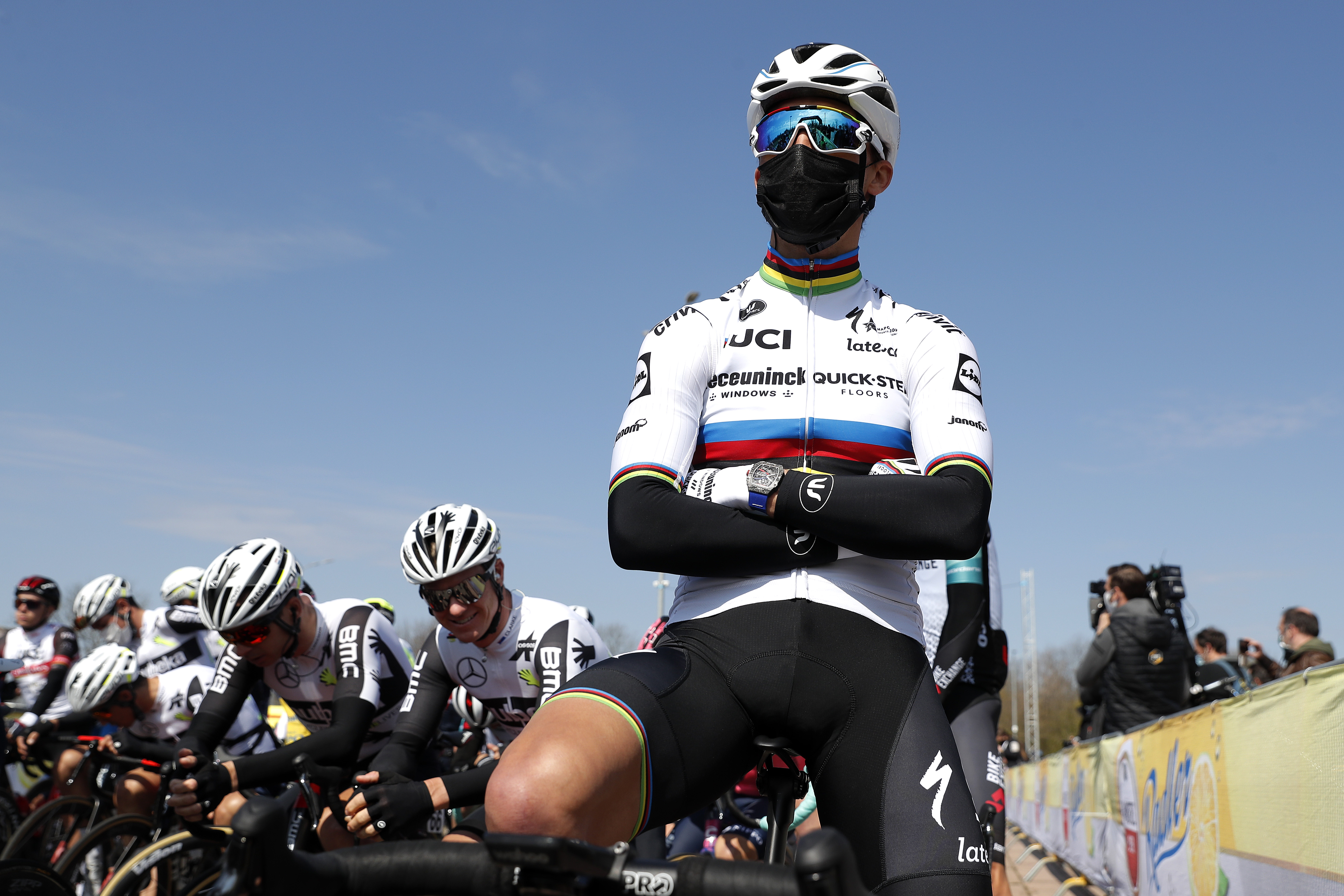 BERG NETHERLANDS APRIL 18 Start Julian Alaphilippe of France and Team Deceuninck QuickStep during the 55th Amstel Gold Race 2021 Mens Elite a 2167km race from Valkenburg to Berg en Terblijt Mask Covid safety measures Amstelgoldrace amstelgoldrace on April 18 2021 in Berg Netherlands Photo by Bas CzerwinskiGetty Images