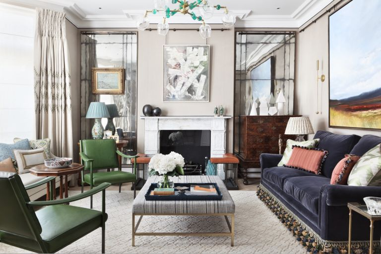 living room with coffee table styling by K&H Design with colorful glass pendant and chinoiserie lamp
