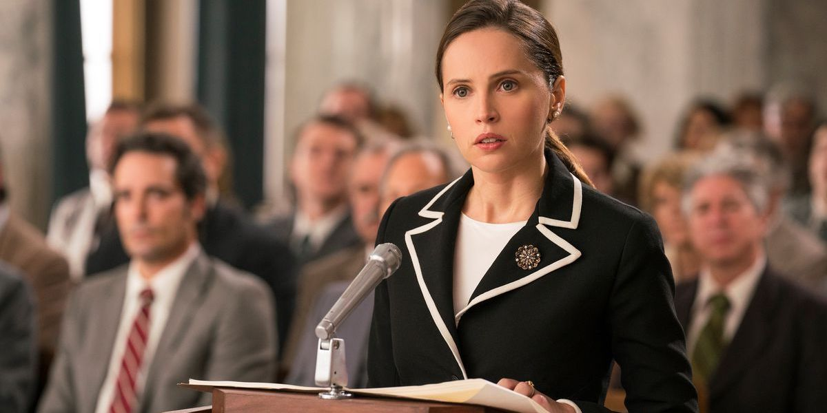 Felcity Jones as a young Ruth Bader Ginsberg at a hearing in On the Basis of Sex