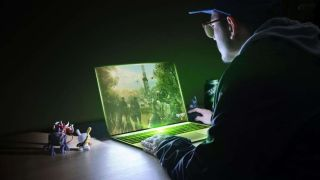 Nvidia gaming laptop with someone playing games on it