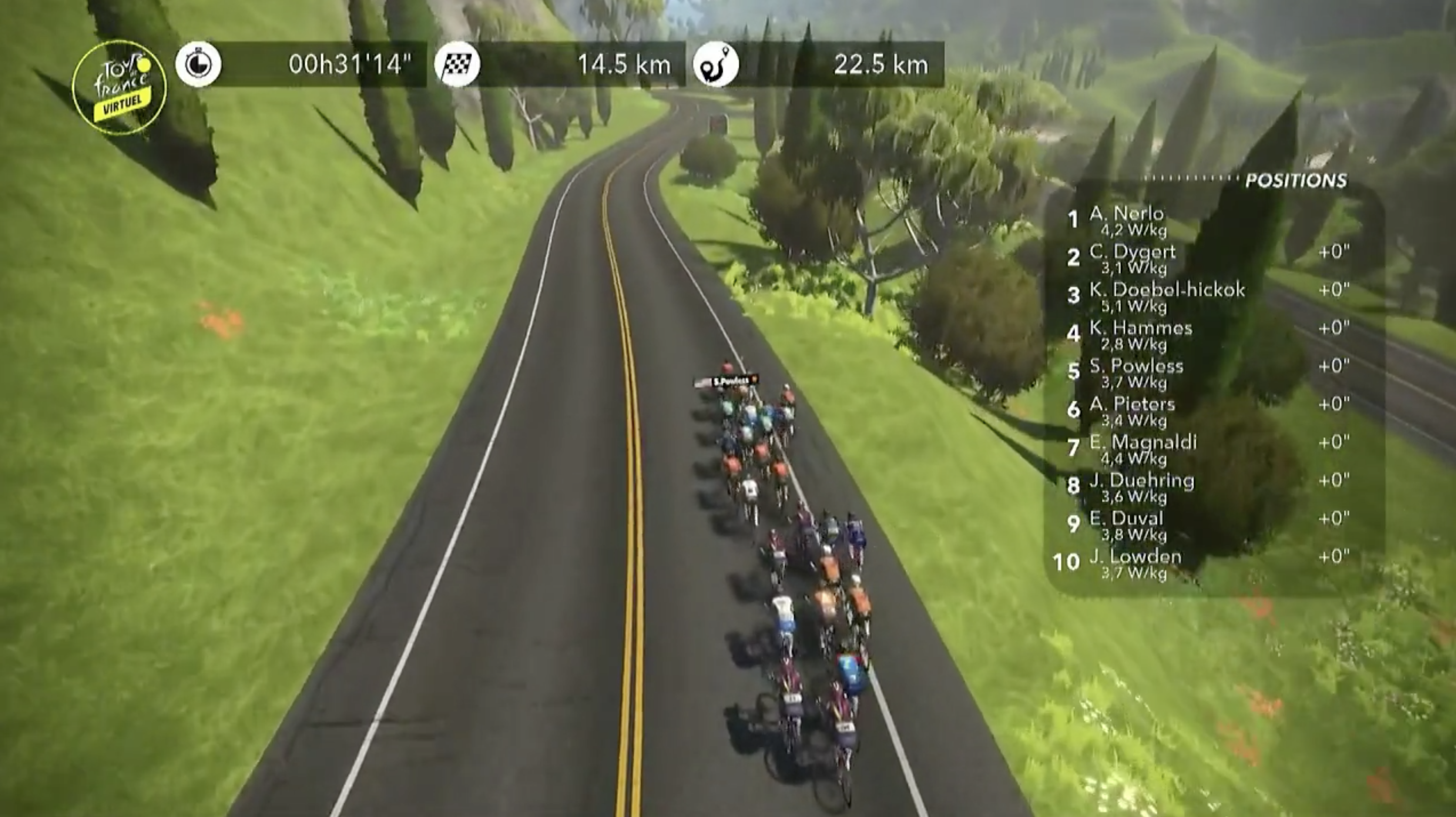 A shot of stage 1 of the Virtual Tour de France