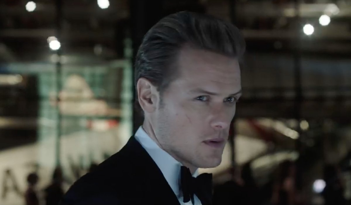 The Spy Who Dumped Me Sam Heughan decked out in a tuxedo