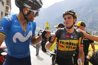Tour de France 2021 108th Edition 15th stage Ceret - Andorra La Vella 191,3 km Alejandro Valverde ESP Movistar Team Sepp Kuss USA Jumbo Visma photo pooltdfBettiniPhoto2021
