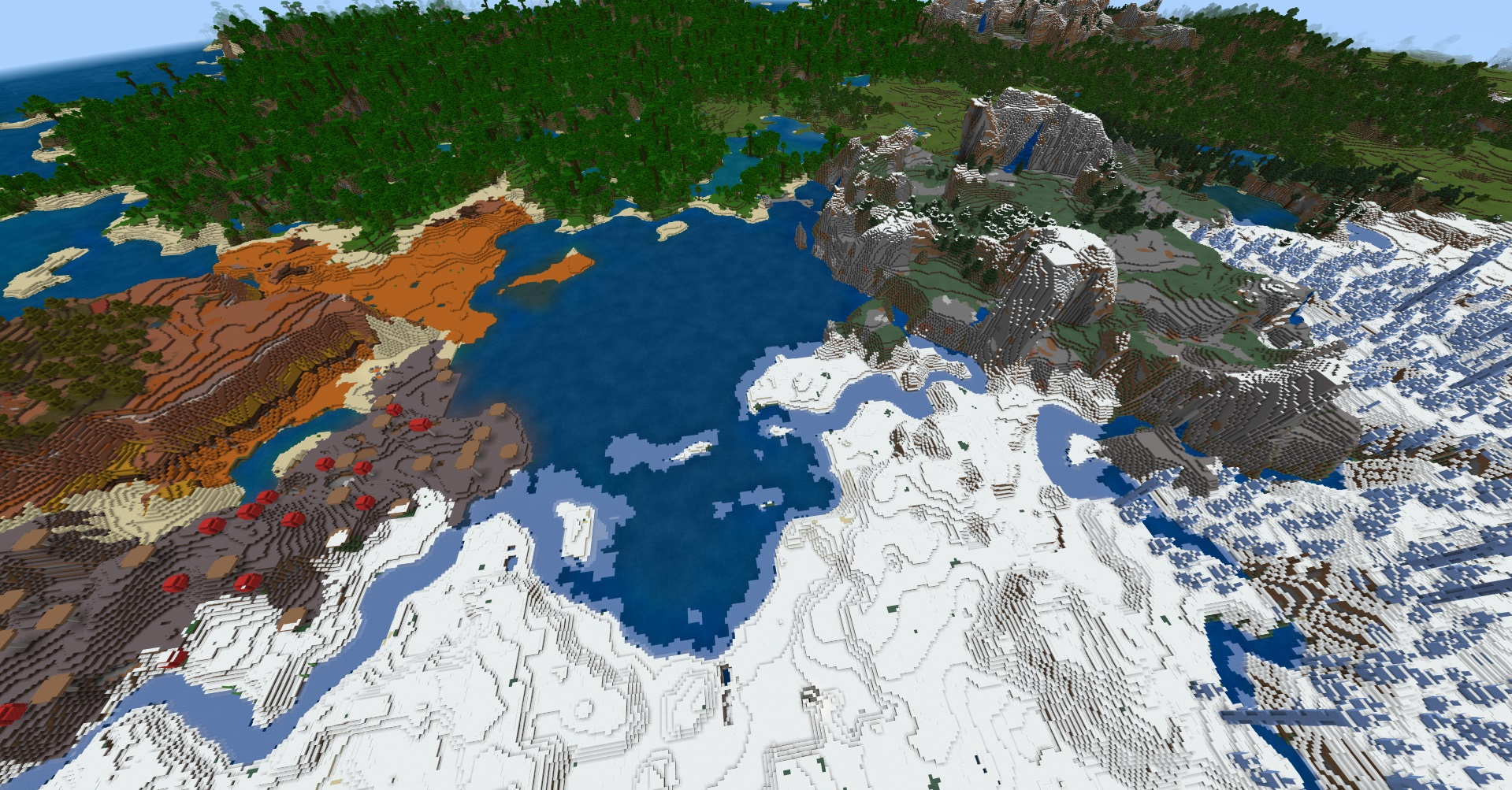 Minecraft Bedrock Pocket Edition seed - An overhead view of a tiny ocean surrounded by a mushroom biome, ice spikes, a jungle, badlands, tundra, mountains, and more