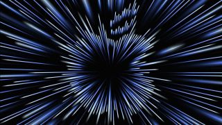 Apple October 18 event announcement image with stylized warp speed Apple logo