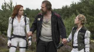 """From left, Scarlett Johansson, David Harbour and Florence Pugh in """"Black Widow."""""""