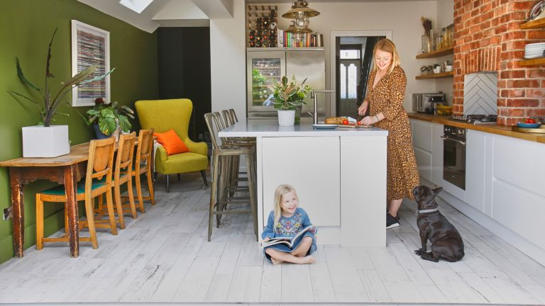 Adding another storey and large kitchen extension doubled the size of Jasmin Robertson's terraced house, turning it into a modern family home