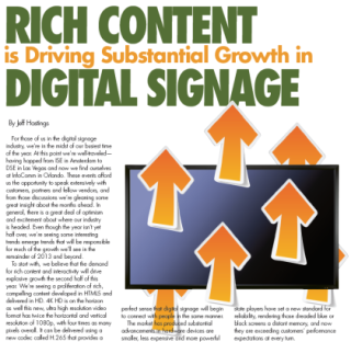 RICH CONTENT IS DRIVING SUBSTANTIAL GROWTH IN DIGITAL SIGNAGE
