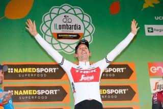 Dutch Bauke Mollema of TrekSegafredo celebrates on the podium after winning the Giro di Lombardia one day cycling race Saturday 12 October 2019 in Como ItalyBELGA PHOTO YUZURU SUNADA FRANCE OUT Photo by YUZURU SUNADABELGA MAGAFP via Getty Images