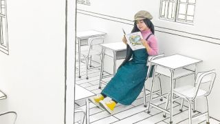 A lady reading a magazine sitting in a 2D cafe