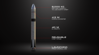 A diagram showing Rocket Lab's planned Neutron rocket, a partially reusable medium-lift vehicle the company intends to launch for the first time in 2024.