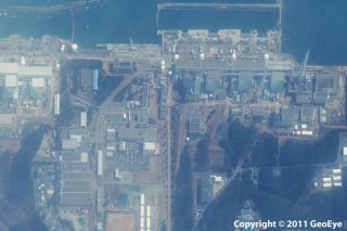This half-meter resolution satellite image was taken of the Fukushima Daiichi nuclear power plant three days after a 9.0 magnitude earthquake struck the Oshika Peninsula on March 11, 2011.The image was taken by the GeoEye-1 satellite from 423 miles in spa