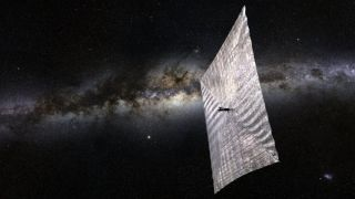 An artist's illustration of the Planetary Society's LightSail-1 solar sailing spacecraft. The novel space propulsion mission is set to launch in 2016 atop a SpaceX Falcon Heavy rocket.