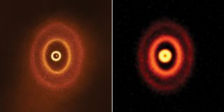 The three rings of GW Orionis, a triple star solar system in the Orion constellation